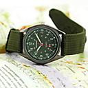 Herre Militærklokke Quartz Stoff Band Armbåndsur Svart / Grønn