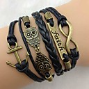 Women's Western Vintage Owl Multideck Anchor Braided Bracelet