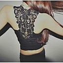 Kvinna sexig Backless Lace Bodycon ärmlös T-shirt