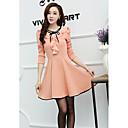 Women's Cute / Work Solid A Line / Skater Dress , Ruff Collar Knee-length Cotton