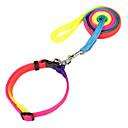Dog Collar / Leash Adjustable/Retractable Rainbow Nylon