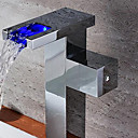 Bathroom Sink Faucets Contemporary LED / Waterfall Brass Chrome