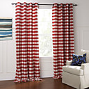 (Two Panels) Modern Classic Red And White Plaid Jacquard Eco-friendly Curtain