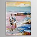 Pintado a mano de pintura al óleo Paisaje Lovers Walking Pintura playa solamente con el marco de estirado