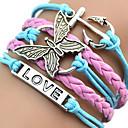 European Butterfly 18cm Women's Multicolor Leather ID Bracelet(1 Pc)