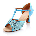 Non Customizable Women's Dance Shoes Latin Leatherette/Sparkling Glitter Chunky Heel Blue