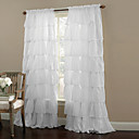 Ruffle Rod Pocket White Curtain (One Panel)