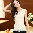 Women's Solid/Lace White/Black/Beige Blouse , Casual/Print Round Neck Sleeveless Lace