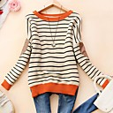 Women's Round Collar Fashion Stripe Long Sleeve Sweater