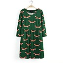 Women's Blue/Black/Green Dress , Casual/Print/Cute ¾ Sleeve