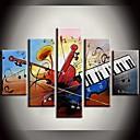 Pintado a mano Float Música Pintura al óleo en el cielo Pinturas abstractas con extendía Frame Set de 5