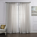 Country Two Panels Solid White Bedroom Linen Polyester Blend Sheer Curtains Shades
