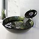Waschbecken Set, gehärtetes Waschbecken aus Glas mit Wasserfall Wasserhahn, Einbauring und Wasser ablassen