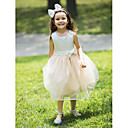 Ball Gown Knee-length Flower Girl Dress - Chiffon Sleeveless Halter with Bow(s)