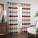 (Two Panels) Elegant Grey And Red Abstract Stripe Energy Saving Curtain