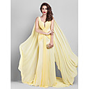 Formal Evening / Company Party Dress-Daffodil Plus Sizes / Petite Sheath/Column V-neck Court Train Georgette