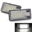 ett par bil registreringsskylt lampor glödlampor vit 18 SMD LED-lampor 12v för audi a3 a4 8e rs4 a6 rs6