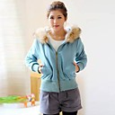 Women's Hoodie Casual Fur Collar Cardigan Elegant Cotton Coat