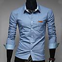 Camisa De los hombres Trabajo Cuadros Escoceses - Mezcla de Algodón - Manga Larga