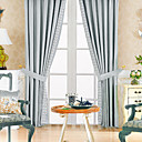(Two Panels) Classic Polyester Cotton Blend Blue Energy Saving Curtain