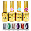 4pcs kelisi gel ultravioleta de metal profesional establece no.13-18 (12 ml, color clasificado)