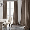Room Darkening Natural Linen Light Brown Curtain(Two Panels)
