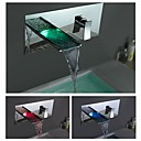 Charmingwater  Contemporary Chrome Finish Color Changing LED Waterfall Bathroom Sink Faucet (Wall Mount)