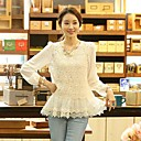 Women's Lace/Solid White Blouse,Cute Round Neck Long Sleeve Layered