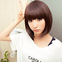 Capless Top Grade Synthetic Chestnut Brown Short Straight Bob Hairstyle Wig for Women