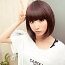 castanha sintético de alto grau sem tampa marrom bob peruca penteado reto curto para as mulheres