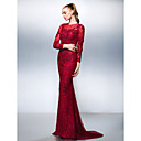 TS Couture® Formal Evening Dress - Burgundy Plus Sizes / Petite Trumpet/Mermaid Jewel Sweep/Brush Train Lace