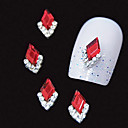 10stk rød Marquise 3d Rhinestone DIY legering tilbehør nail art dekoration