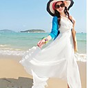 Women's Splicing Snow White Chiffon Dress  with Short Sleeves