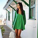 mini vestido de las mujeres de color blanco / negro / verde ajuste holgado, profunda v cuello manga larga