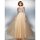 TS Couture® Dress - Champagne Plus Sizes / Petite A-line Scoop Floor-length Tulle / Sequined