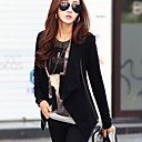 Women's Black Coat , Casual Long Sleeve Polyester/Cotton Blends