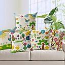 set om 5 färgstarka natur bomull / linne dekorativa örngott