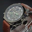Herren Beobachten Japanischer Quartz Militäruhr LCD / Kalender / Chronograph / Wasserdicht / Duale Zeitzonen / Alarm Leder Band Armbanduhr