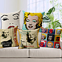 Set of 5 Modern Style Marilyn Monroe Patterned Cotton/Linen Decorative Pillow Cover