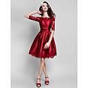 thuiskomst cocktail party dress - bordeaux baljurk bateau knielange satijn