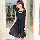 Women's  Casual Cute Simplicity Inelastic Round Collar Slim Sleeveless Knee-length Pleated Dress (Chiffon)