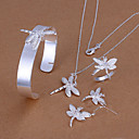 Fashion Dragonfly Shape Copper Silver Plated Foreign Trade Jewelry Sets For Women's(Silver)(1Set)