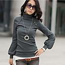 Damen T-Shirt Baumwolle Langarm Rollkragen