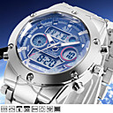 NEW Military Mens Sport Wrist Watch Quartz LCD Digtal Dual Time Chronograph Alarm Steel Waterproof Muti-Function
