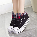 Women's Shoes Canvas Wedge Heel Comfort Round Toe Fashion Sneakers Casual Black/Blue/Red