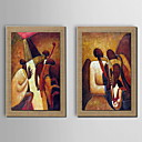 Oil Painting Decoration Abstract Mai people Character Hand Painted Canvas with Stretched Framed - Set of 2