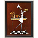 Wall Art Oil Painting Frame Wood Frame with Canvas with Plastic Organic Glass 1piece/set Random Color