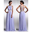 TS Couture® Formal Evening Dress - Lavender Plus Sizes / Petite Sheath/Column Scoop Floor-length Chiffon