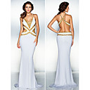 TS Couture® Formal Evening Dress - White Plus Sizes / Petite Trumpet/Mermaid V-neck Sweep/Brush Train Jersey
