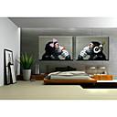 arte macaco sentado parede pintura a óleo adorno quarto na lona 2pcs / set sem quadro pintado à mão